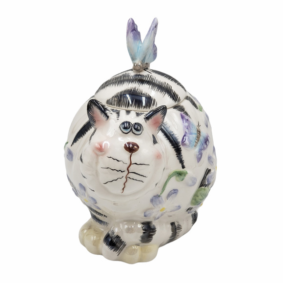 Ceramic Cat Butterfly Floral Lidded Iridescent Jar Container